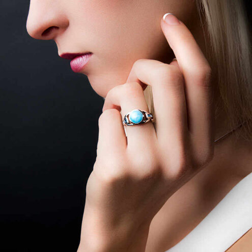 Aqua Larimar Ring