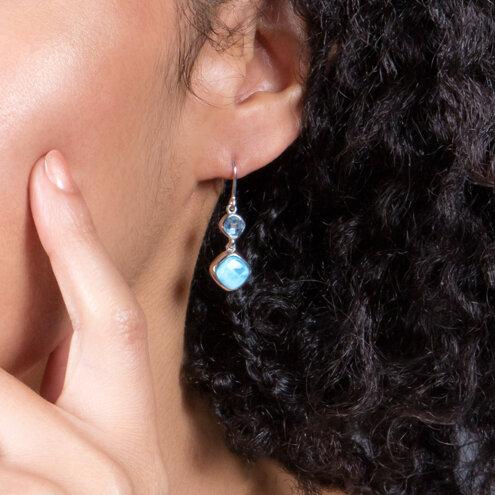 Atlantic Cushion Larimar Earrings