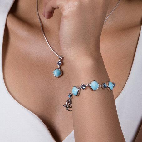 marahlago larimar Atlantic Cushion Larimar Bracelet jewelry