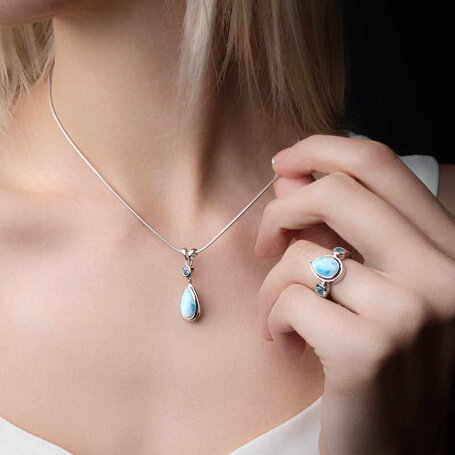 marahlago larimar Atlantic Pear Larimar Necklace jewelry