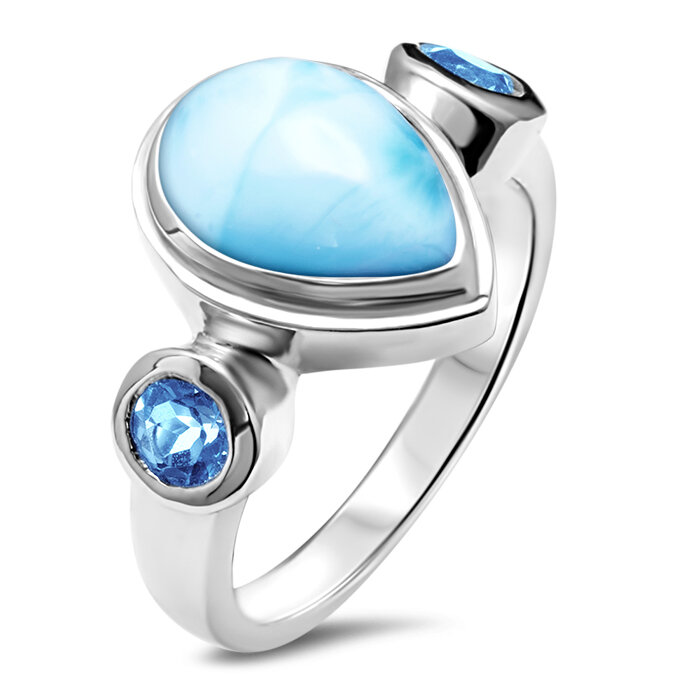 marahlago larimar Atlantic Pear Larimar Ring jewelry