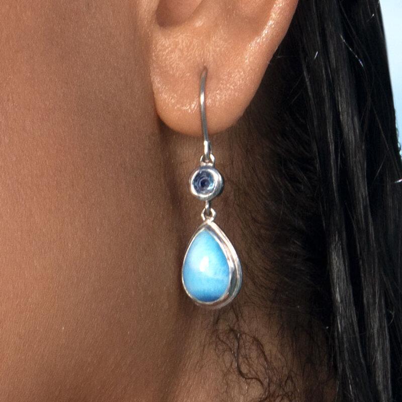 marahlago larimar Atlantic Pear Larimar Earrings jewelry