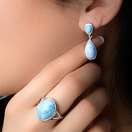 marahlago larimar Double Pear Larimar Earrings jewelry