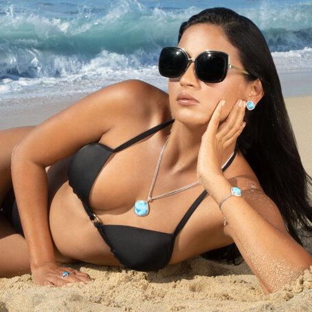 marahlago larimar Clarity Cushion Larimar Earrings jewelry