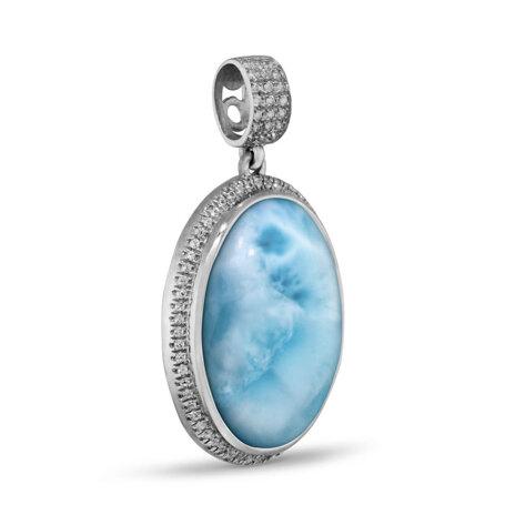 marahlago larimar Clarity Oval Large Larimar Necklace jewelry