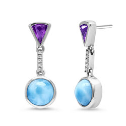 marahlago round Cove Larimar Earrings