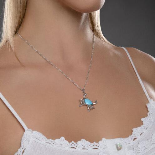 Crab Larimar Necklace