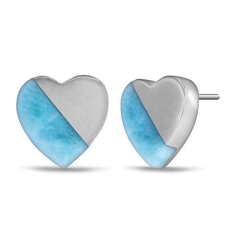 Marahlago Inlay Heart Larimar Earrings Jewelry