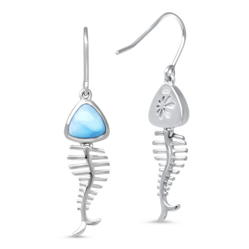Bone Fish Larimar Earrings