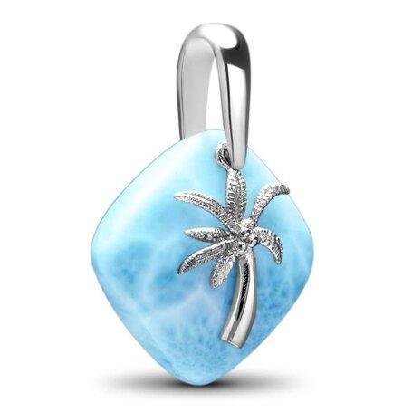 Palm Tree Larimar Necklace Side