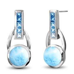 marahlago round Aqua Larimar Earrings