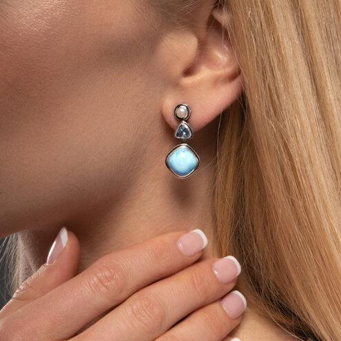 Azure Cushion Larimar Earrings