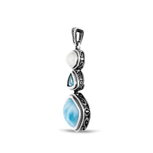 Azure Cushion Larimar Necklace