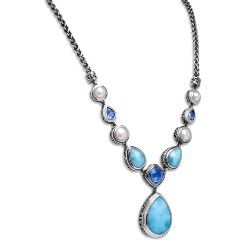 Azure Pear Large Larimar Necklace