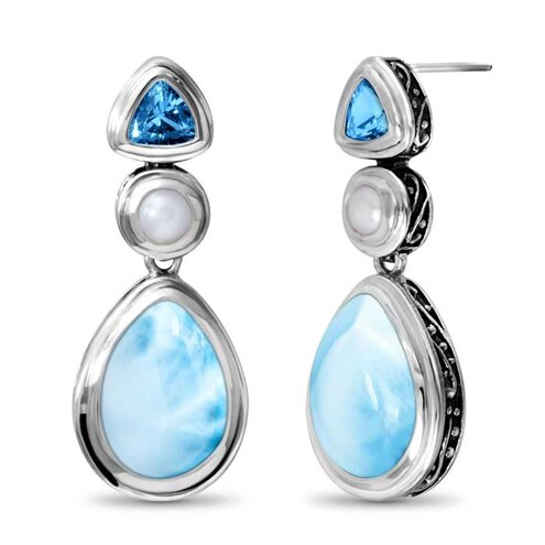 Azure Pear Larimar Earrings