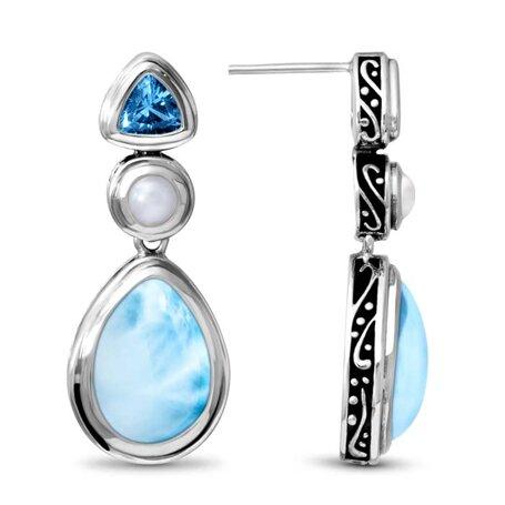 marahlago larimar Azure Pear Larimar Earrings jewelry