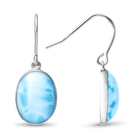 marahlago larimar Oval Dangle Larimar Earrings jewelry