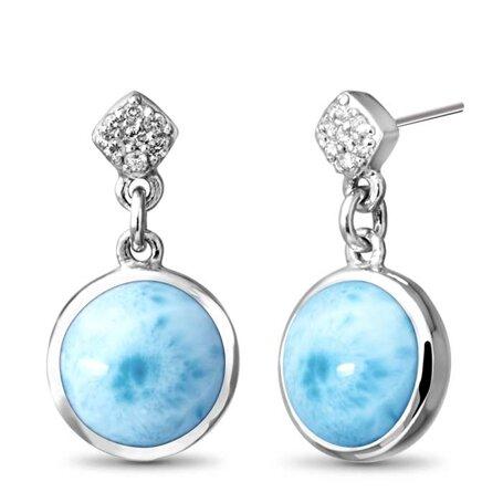marahlago larimar Bliss Round Larimar Earrings jewelry