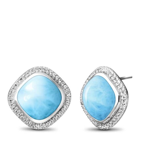 Clarity Cushion Larimar Earrings