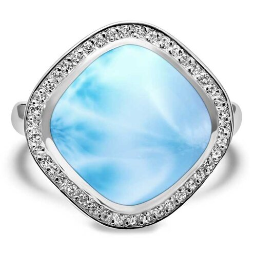 Clarity Cushion Larimar Ring