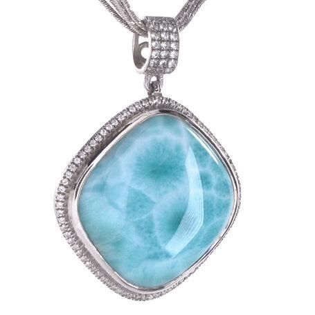 marahlago larimar Clarity Cushion Large Larimar Necklace jewelry