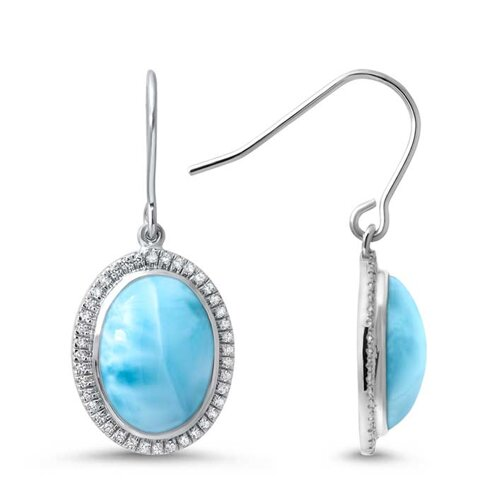 Clarity Oval Larimar Earrings