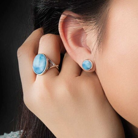 marahlago larimar Round Post Larimar Earrings jewelry