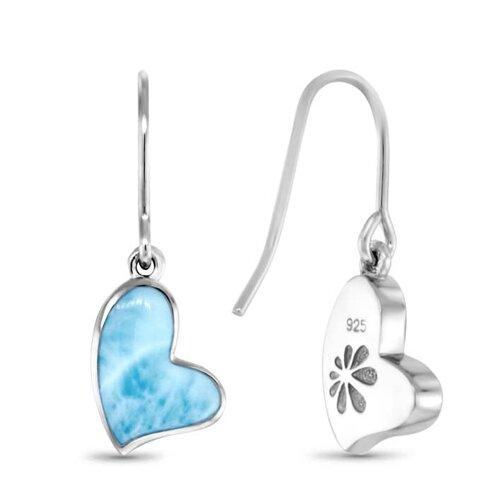 Floating Heart Larimar Earrings