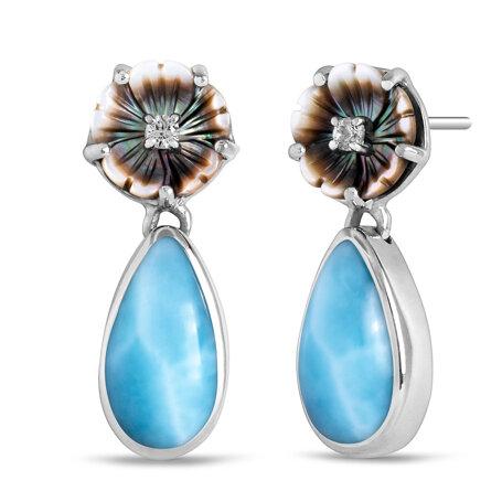 marahlago larimar Hibiscus Larimar Earrings jewelry
