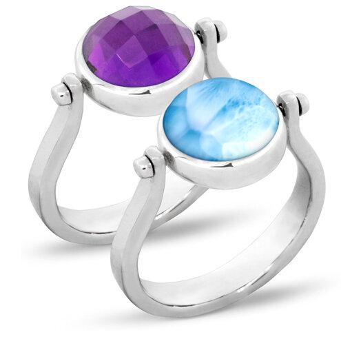 Hideaway Amethyst Larimar Ring