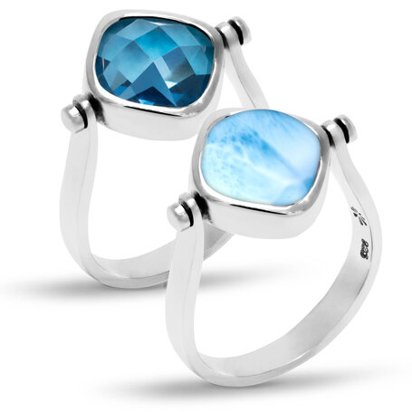 marahlago larimar Hideaway Blue Spinel Larimar Ring jewelry