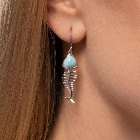 marahlago larimar Bone Fish Larimar Earrings jewelry