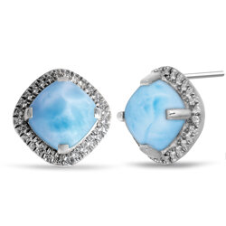 marahlago square Radiance Cushion Larimar Earrings