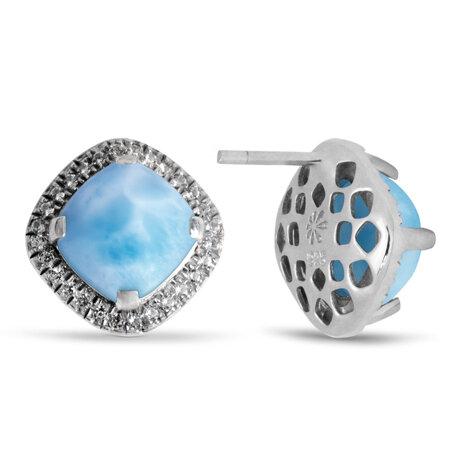 marahlago larimar Radiance Cushion Larimar Earrings jewelry
