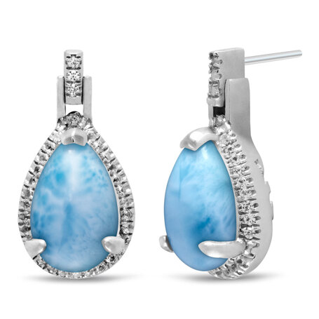 marahlago larimar Radiance Pear Larimar Earrings jewelry