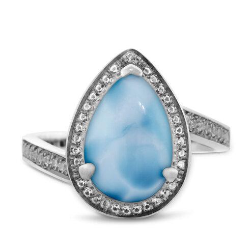 Radiance Pear Larimar Ring