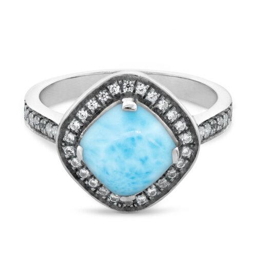 Radiance Cushion Larimar Ring