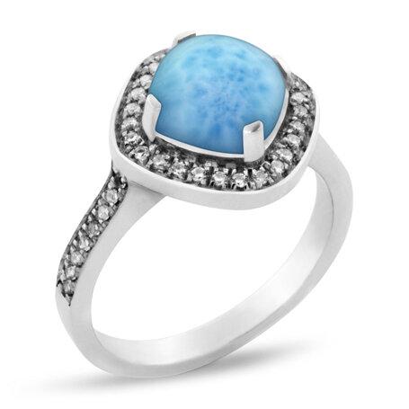 marahlago larimar Radiance Cushion Larimar Ring jewelry