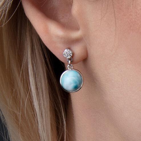 Bliss Round Larimar Earrings