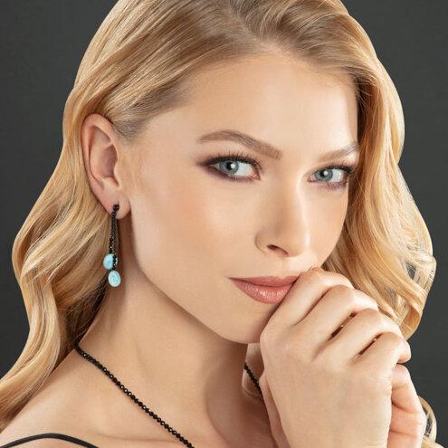 Galaxy Larimar Earrings