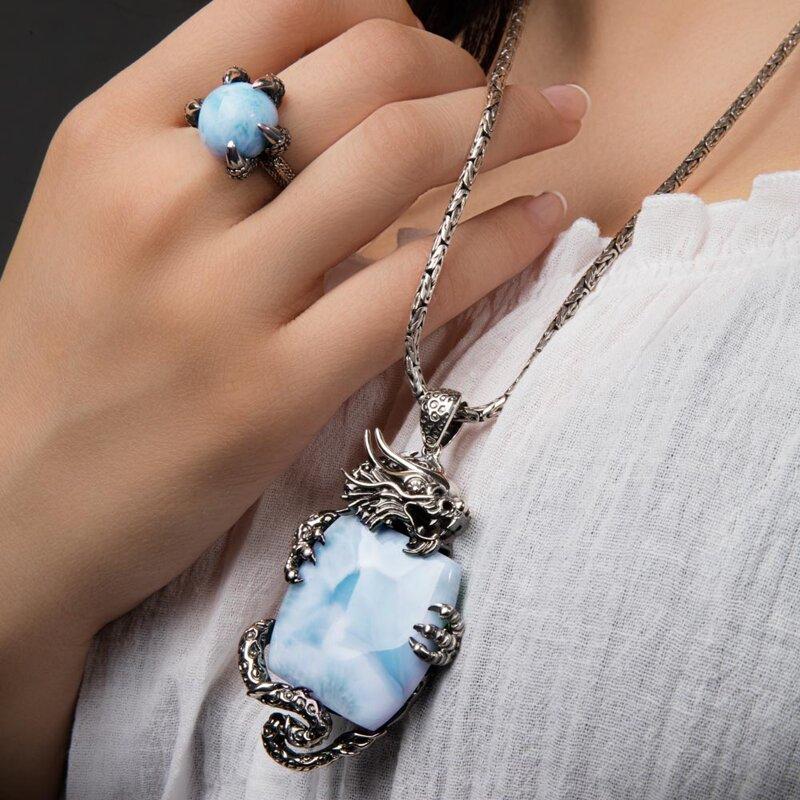 marahlago larimar Dragon Larimar Necklace jewelry
