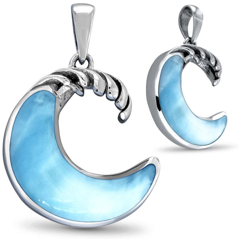 marahlago larimar Crescent Wave Pendant jewelry