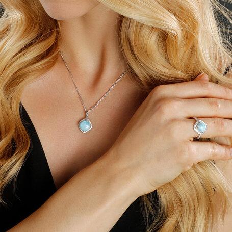marahlago larimar Radiance Cushion Larimar Necklace jewelry